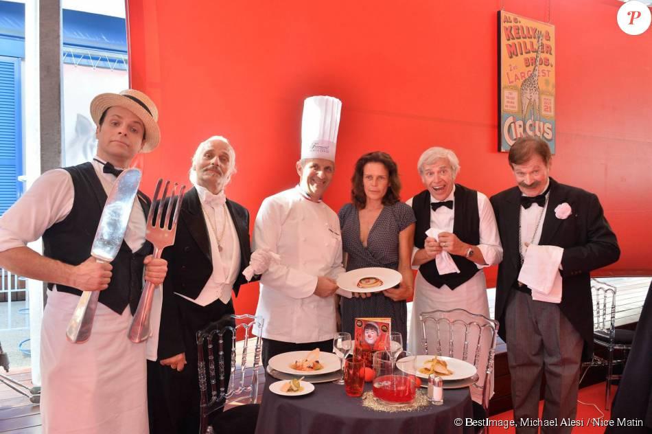 Exclusif - La princesse Stephanie avec le chef Philippe Joannès du Fairmont Monte-Carlo et les Castors lors de la conférence de presse du Circus Dinner Show, jeudi 16 juillet 2015.