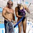 Laure Manaudou et Philippe Lucas lors des championnats du monde au Parc Jean-Drapeau de Montréal, le 22 juillet 2005