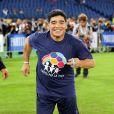 Diego Armando Maradona lors du match pour la paix au Stade Olympique de Rome, le 1er septembre 2014