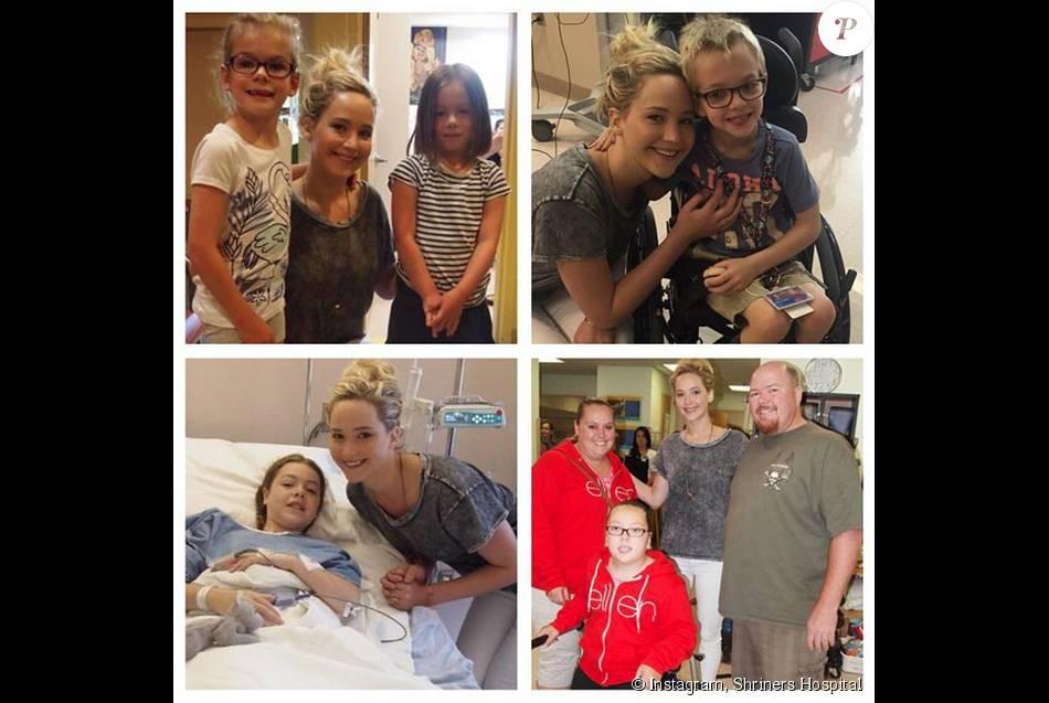 Le Shriners Hospital immortalise en un montage le passage de Jennifer Lawrence dans leur établissement. (photo postée le 8 aout 2015)