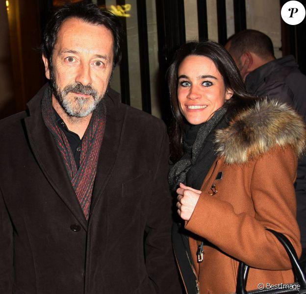 Exclusif - Jean-Hugues Anglade et sa compagne Charlotte Leloup à l'hommage à Patrice Chereau au Théâtre de l'Odeon à Paris, le 3 novembre 2013.