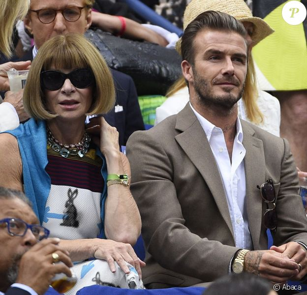 David Beckham et Anna Wintour lors de la finale de l'US Open entre Roger Federer et Novak Djokovic à l'USTA Billie Jean King National Tennis Center de Flushing dans le Queens à New York, le 13 septembre 2015