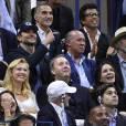 Bradley Cooper et Sean Connery lors de la finale de l'US Open à l'USTA Billie Jean King National Tennis Center de Flushing dans le Queens à New York le 13 septembre 2015