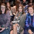 Glenda Bailey (Harper's Bazaar), Carine Roitfeld et Suzy Menkes (Vogue) assistent au défilé Vionnet (collection printemps-été 2016) au Couvent des Cordeliers. Paris, le 30 septembre 2015.
