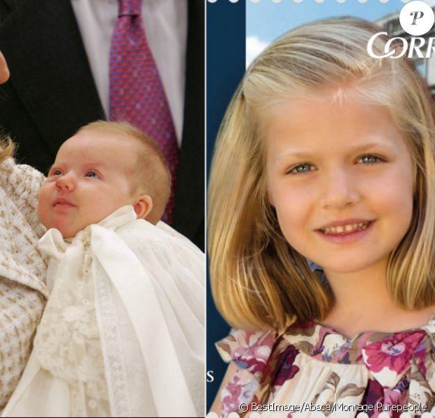 A gauche : Leonor, fille de Felipe et Letizia d'Espagne, lors de son baptême à la Zarzuela en janvier 2006 / A droite, timbre-poste à l'effigie de Leonor à l'occasion des Premiers Prix Princesse des Asturies. Le 31 octobre 2015, la princesse des Asturies fête ses 10 ans.