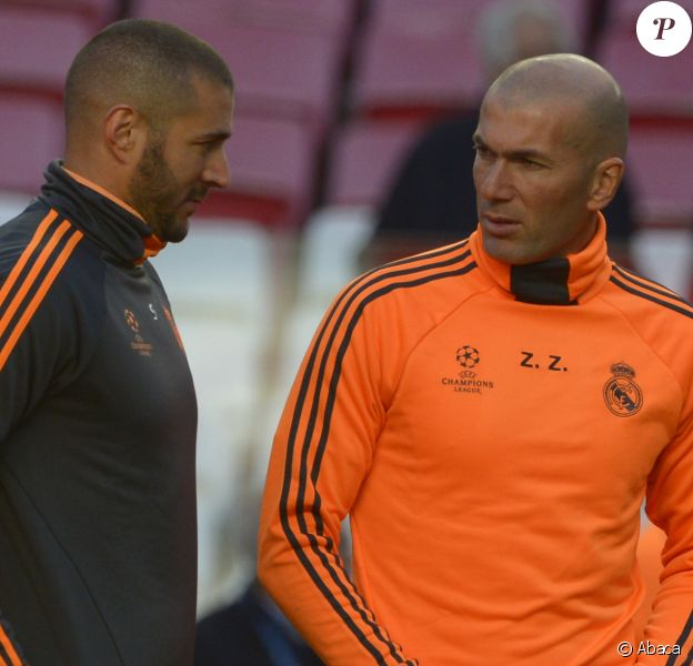 Zinedine Zidane et Karim Benzema à Lisbonne, le 23 mai 2014.