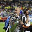 Zinédine Zidane lors de la finale de la Ligue des Champions entre le Real Madrid et l'Atletico Madid à l'Estadio de la Luz à Lisbonne, le 24 mai 2014