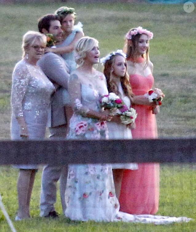 Exclusif - Fiona, Lola et Luca Facinelli - Mariage de Jennie Garth et David Abrams dans son ranch à Santa Ynez. Le 11 juillet 2015 F