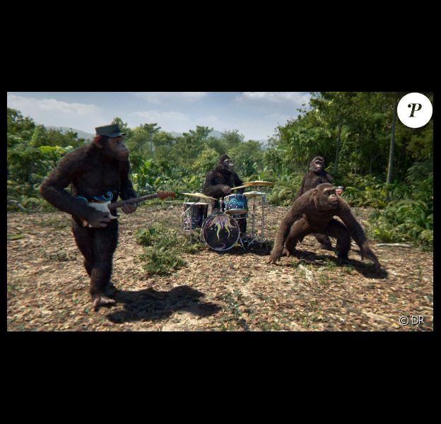 Chris Martin et son groupe Coldplay dans le clip Adventure of a Lifetime.
