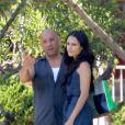 Vin Diesel et Jordana Brewster sur le tournage de Fast & Furious 7 à Los Angeles, le 2 juin 2014