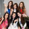 Charlotte Pirroni sublime aux côtés des autres prétendantes pour le concours Miss International, au Japon en novembre 2015