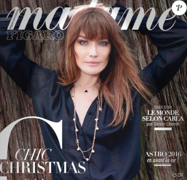 Carla Bruni en couverture de Madame Figaro, décembre 2015.