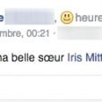 La belle-soeur d'Iris Mittenaere la félicite suite à son sacre, le 20/12/15, sur Facebook