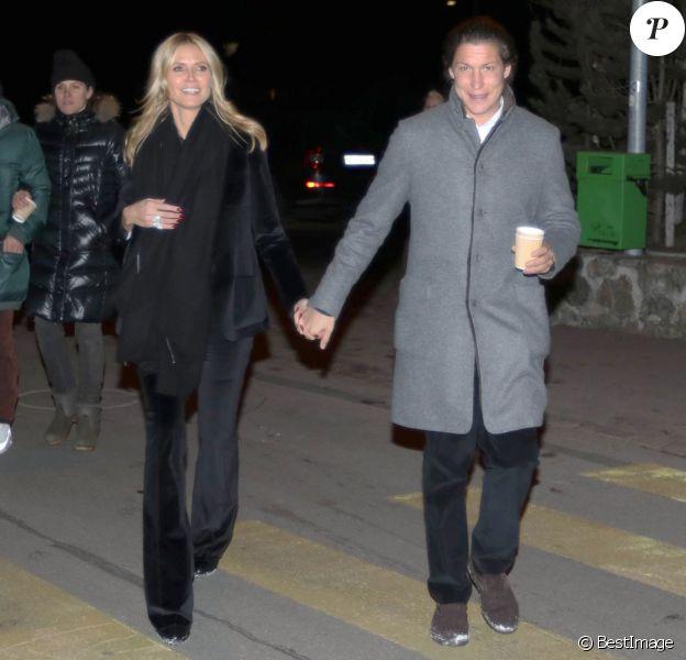 Heidi Klum et son compagnon Vito Schnabel - Vernissage de la galerie d'art de Vito Schnabel à Saint-Moritz en Suisse le 28 décembre 2015