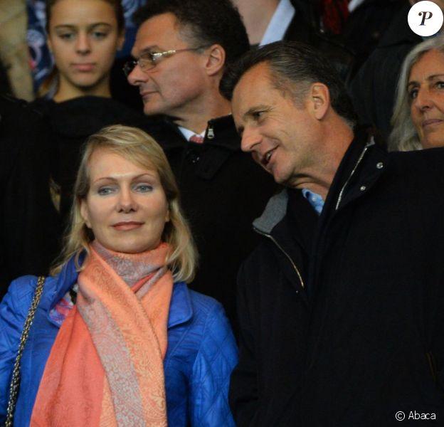 Margarita Louis-Dreyfuset Philipp Hildebrand lors de la renconte de Ligue 1 entre le Paris Saint-Germain et l'Olympique de Marseille, au Parc des Princes à Paris, le 4 octobre 2015