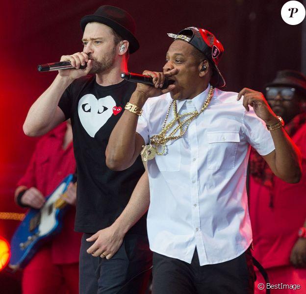 Jay-Z et Justin Timberlake en concert lors du festival Wireless a Londres, le 14 juillet 2013.