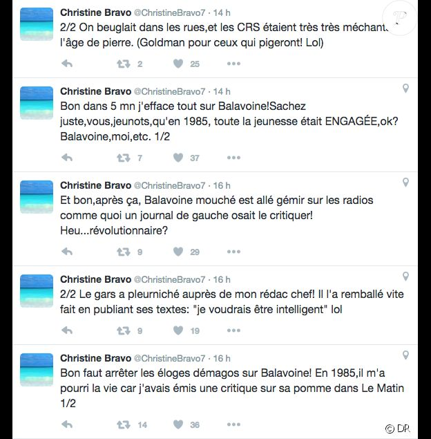 Christine Bravo, ses tweets assassins envers Daniel Balavoine, le 9 janvier 2016.