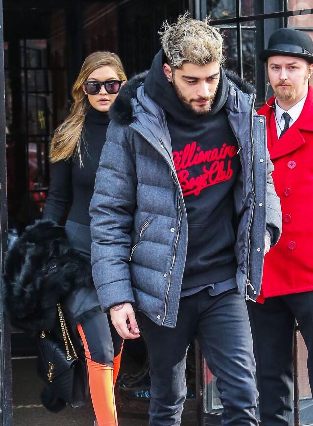Zayn Malik et sa compagne Gigi Hadid quittent l'hotel Bowery à New York City le 8 janvier 2016.
