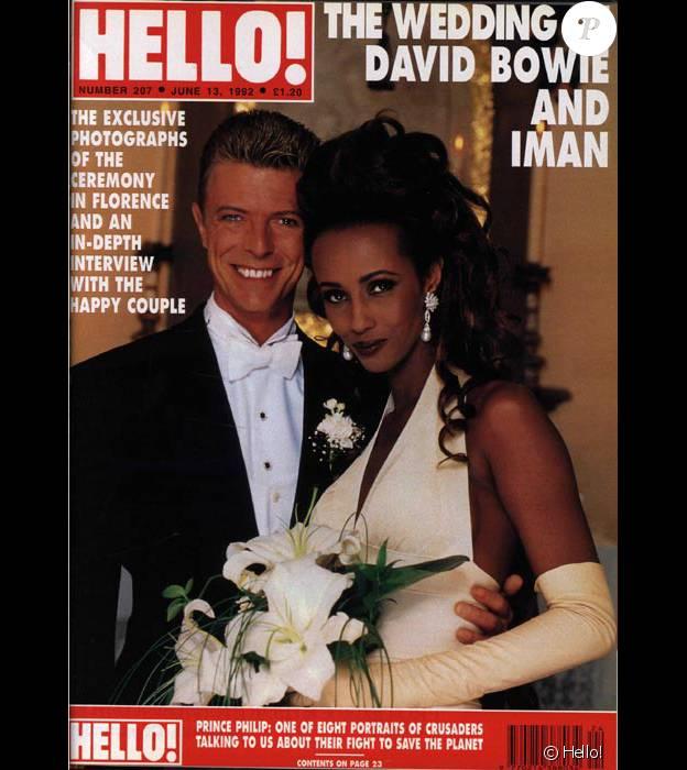 David Bowie et Iman en couverture de Hello! Magazine en juin 1992, numéro consacré à leur mariage.