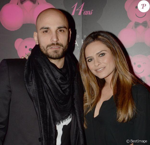 Exclusif - Clara Morgane et son mari Jérémy Olivier, lors de la soirée du 14e anniversaire du Pink Paradise à Paris le 14 janvier 2016. Le Pink Paradise présente lors de cet événement sa première ligne de joaillerie en collaboration avec Edouard Nahum : Pink Jewelery.