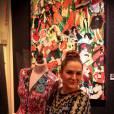 Anne Mondy, lors de la soirée de clôture de l'exposition d'Anne Mondy,  Accords Croisés by Papertorn , au Dedar Showroom à Paris, en décembre 2015.
