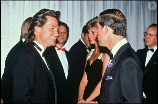 Lady Diana et le prince Charles face à Kurt Russell en juillet 1991 lors de l'avant-première de Backdraft, film de Ron Howard dont il était le héros.