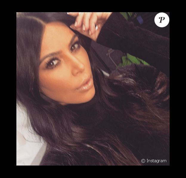 Kim Kardashian a publié un selfie sur sa page Instagram, le 13 janvier 2016.