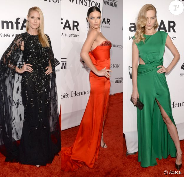 """Heidi Klum, Adriana Lima et Petra Nemcova, trois des ravissantes stars présentes au gala """"amfAR New York"""" à New York. Le 10 février 2016."""