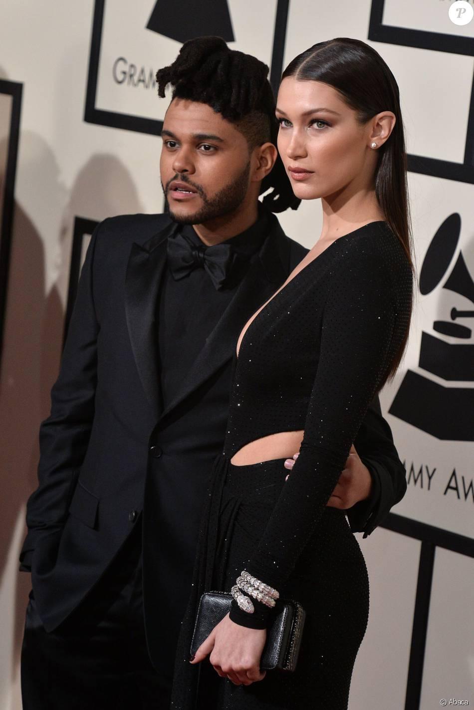 The Weeknd et sa compagne Bella Hadid ont fait leur première apparition officielle en couple sur le tapis rouge des Grammy Awards le 15 février 2016