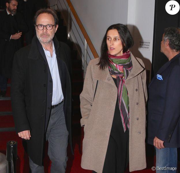 """Exclusif - Marc Levy et sa femme Pauline Lévêque enceinte arrivent au Festival du film """"In French with English subtitles"""" à New York, le vendredi 20 Novembre 2015."""