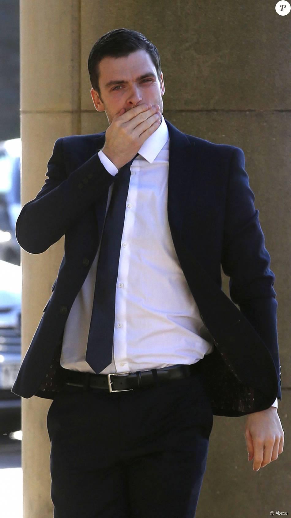 Adam Johnson, accusé d'agression sexuelle sur une mineure de 15 ans, lors de son arrivée au tribunal de Bradford le 23 février 2016