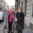 Exclusif - La comédienne Marthe Mercadier et sa fille Véronique avenue Montaigne à Paris, le 24 février 2015.