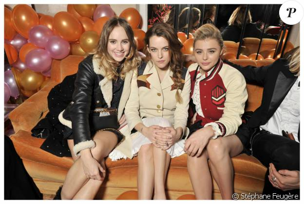 Suki Waterhouse, Riley Keough et Chloe Grace Moretz à la soirée Coach à Paris le 1er mars 2016