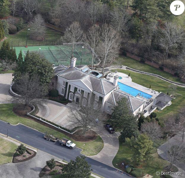 Exclusif - Vue aérienne de la maison de Nicole Kidman et Keith Urban à Nashville, achetée en 2007, un an après leur mariage. Le 9 février 2016
