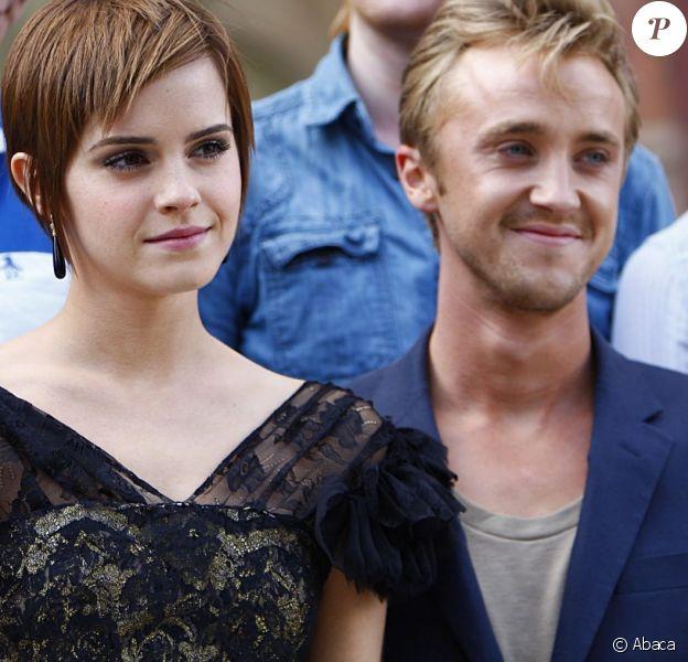 Emma Watson et Tom Felton à Londres le 6 juillet 2011.