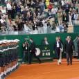 """Le prince Albert II de Monaco et sa femme la princesse Charlene de Monaco ont remis à Rafael Nadal la """"Coupe de S.A.S. le Prince Souverain"""" à l'issue de la finale du Monte-Carlo Rolex Masters 2016 remportée aux dépens de Gaël Monfils, à Roquebrune-Cap-Martin, le 17 avril 2016. © Jean-Charles Vinaj/Pool restreint Monaco/Bestimage"""