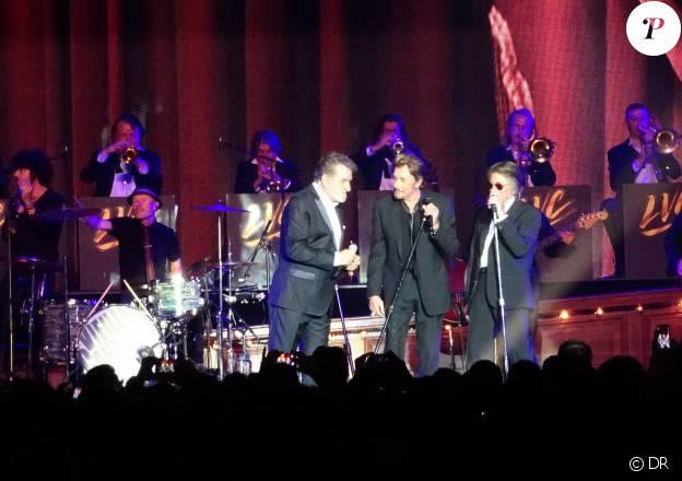 Johnny Hallyday, Eddy Mitchell et Jacques Dutronc - Premier concert des Vieilles Canailles au Palais Ominisports de Paris Bercy, le 5 novembre 2014.