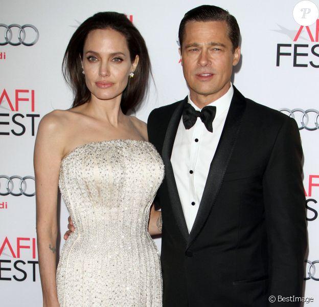"""Angelina Jolie et son mari Brad Pitt - Première de """"By the Sea"""" à Los Angeles le 5 novembre 2015"""