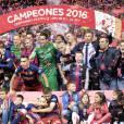 Image lors de la victoire du Barça (2-0 après prolongations) en finale de la Coupe du Roi face au FC Séville à Vicente Calderon à Madrid en Espagne le 22 mai 2016.