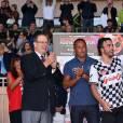 Le prince Albert II de Monaco participait le 24 mai 2016, avec son neveu Louis Ducruet, au match de foot caritatif opposant comme chaque année avant le Grand Prix de Monaco l'A.S. Star Team for Children et l'Association Mondiale des Pilotes de F1, au stade Louis-II. © Bruno Bebert / Bestimage
