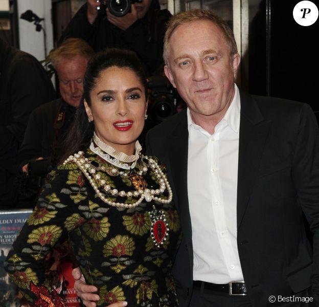 """Salma Hayek et son mari François-Henri Pinault lors de la première du film """"Tale of Tales"""" à Londres, le 1er juin 2016"""