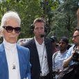Karl Lagerfeld au défilé Dior Homme prêt-à-porter masculin printemps-été 2017 au Tennis Club de Paris, le 25 juin 2016.