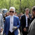 Sébastien Jondeau et Karl Lagerfeld au défilé Dior Homme prêt-à-porter masculin printemps-été 2017 au Tennis Club de Paris, le 25 juin 2016. © CVS / Veeren / Bestimage