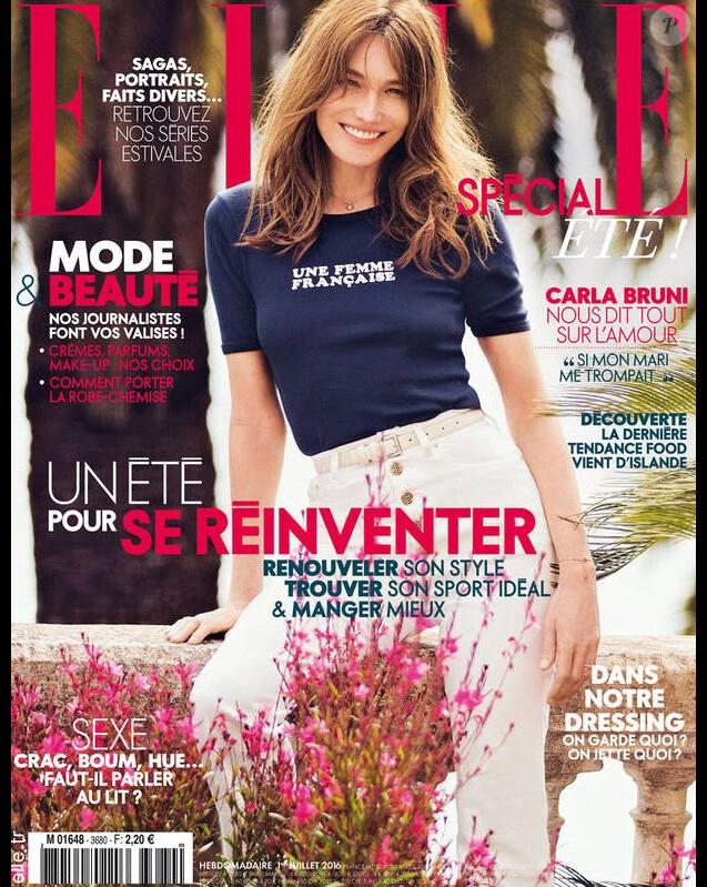 Carla Bruni-Sarkozy en couverture de ELLE, le 1er juillet 2016