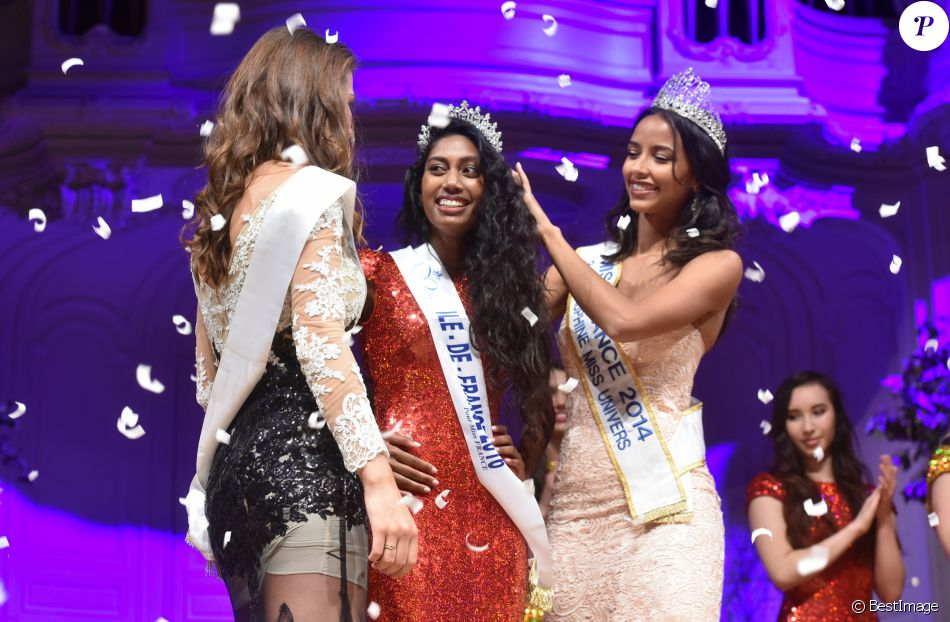 Exclusif - Fanny Harcaut , Miss Ile-de-France 2015, Miss Ile-de-France 2016, Meggy Pyaneeandee, représentera la région capitale à l'élection de miss France et Flora Coquerel, Miss France 2014 - Election de Miss Ile-de-France 2016 dans la salle Gaveau à Paris, France, le 29 juin 2016. © Giancarlo Gorassini/Besimage
