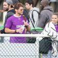 Exclusif - Rayane Bensetti et sa complice Denitsa Ikonomova joueurs et spectateurs de la Media's cup. Le 2 juillet 2016