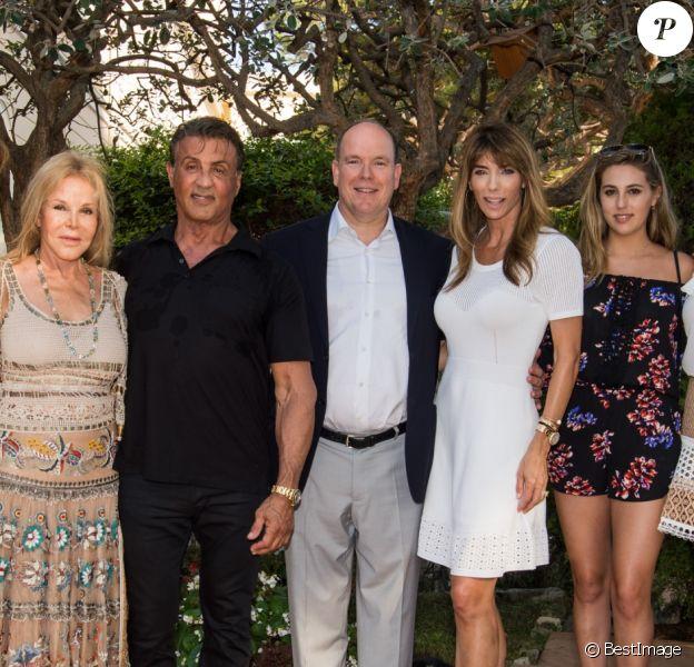 Exclusif - Sylvester Stallone avec sa femme Jennifer Flavin, ses filles Sistine, Scarlet, Sophia et le prince Albert II de Monaco - Sylvester Stallone a été reçu en famille par le prince Albert II de Monaco pour souffler ses 70 bougies au palais princier à Monaco le 8 juillet 2016.