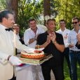 Exclusif - Sylvester Stallone et le prince Albert II de Monaco - Sylvester Stallone a été reçu en famille par le prince Albert II de Monaco pour souffler ses 70 bougies au palais princier à Monaco le 8 juillet 2016.