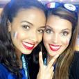 Flora Coquel et Iris Mittenaere sublimes supportrices des Bleus lors de l'Euro 2016. Juillet 2016.