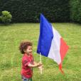 Le fils de Rachel Legrain-Trapani, sublime supportrice des Bleus lors de l'Euro 2016. Juillet 2016.